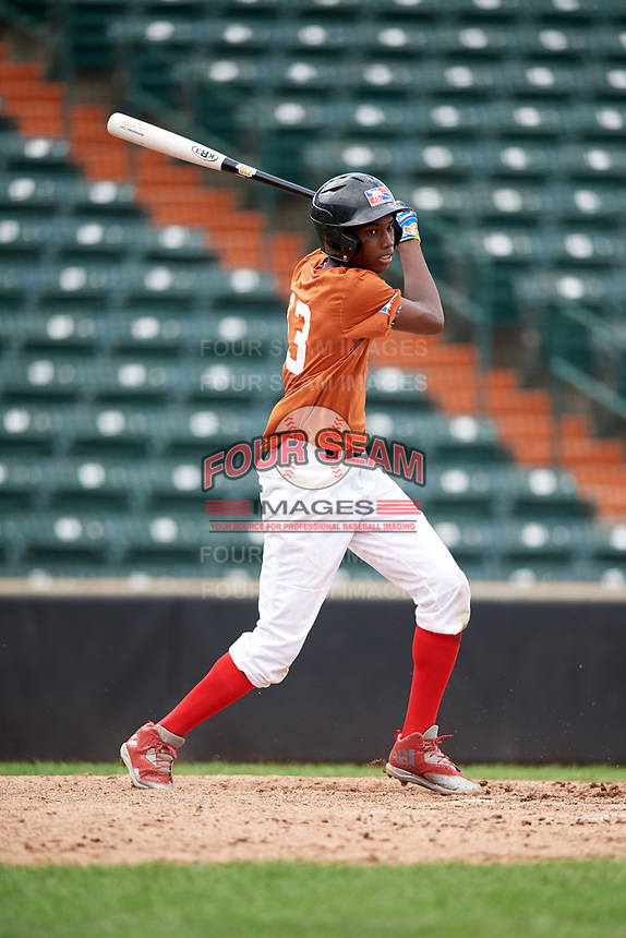 Gabriel Paulino (13) follows through on a swing during the Dominican Prospect League Elite Underclass International Series, powered by Baseball Factory, on July 21, 2018 at Schaumburg Boomers Stadium in Schaumburg, Illinois.  (Mike Janes/Four Seam Images)