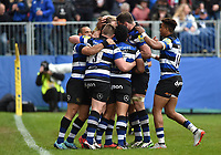 Max Clark of Bath Rugby celebrates his try with team-mates. Aviva Premiership match, between Bath Rugby and Gloucester Rugby on April 30, 2017 at the Recreation Ground in Bath, England. Photo by: Patrick Khachfe / Onside Images
