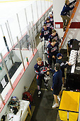 David Warsofsky (US - 5), Steve Castelletti (US - Equipment Manager), Mac Moore (US - Assistant), Derek Stepan (US - 22), Kenny Ryan (US - 20), Joe Exter (US - Assistant Coach), Jack Campbell (US - 1) - Team USA defeated Team Russia 6-0 in their final game during the 2009 USA Hockey National Junior Evaluation Camp on Saturday, August 15, 2009, in the USA (NHL-sized) Rink in Lake Placid, New York.