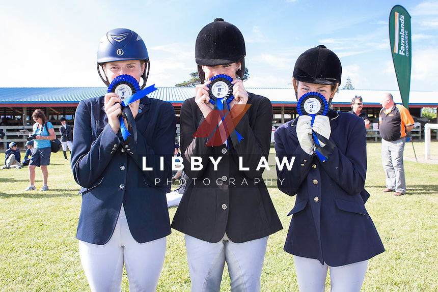 HURLEY FAMILY Young Rider Level 5 5D: (L-R) 1ST-Chelsea Sinnamon (ABOVE ZERO); 2ND-Mikayla Woods (LV AWARD); 3RD-Rhiannon Harrison (DON'S PARTY): 2015 NZL-SAMSUNG/GTL Networks NZ Pony and Young Rider Championships (Tuesday 13 January) CREDIT: Libby Law COPYRIGHT: LIBBY LAW PHOTOGRAPHY
