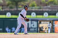 Glendale Desert Dogs shortstop Thairo Estrada (90), of the New York Yankees organization, during an Arizona Fall League game against the Mesa Solar Sox at Camelback Ranch on October 15, 2018 in Glendale, Arizona. Mesa defeated Glendale 8-0. (Zachary Lucy/Four Seam Images)