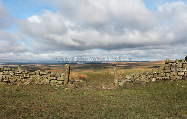Stone gateposts on a section of Hadrian's Wall East of Cawfields Wall and South of Cawburn, Northumberland, England. Hadrian's Wall was built 73 miles across Britannia, now England, 122-128 AD, under the reign of Emperor Hadrian, ruled 117-138, to mark the Northern extent of the Roman Empire and guard against barbarian attacks from the Picts to the North. The wall was fortified with milecastles with 2 turrets in between, and a fort about every 5 Roman miles. This section of the Wall is in the Northumberland National Park, managed by English Heritage, and the Hadrian's Wall Path, an 84-mile coast to coast long distance footpath, runs alongside it, along with the Pennine Way. Picture by Manuel Cohen
