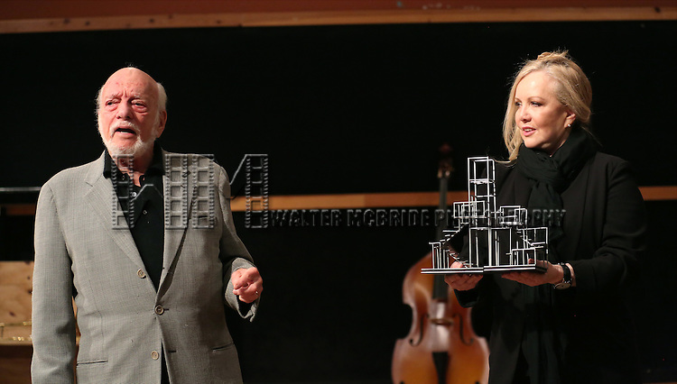 Hal Prince and Susan Stroman during the press day preview of 'Prince of Broadway' at SIR Studio on October 5, 2015 in New York City.
