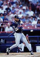 Albert Belle of the Cleveland Indians at Anaheim Stadium in Anaheim,California during the 1996 season. (Larry Goren/Four Seam Images)