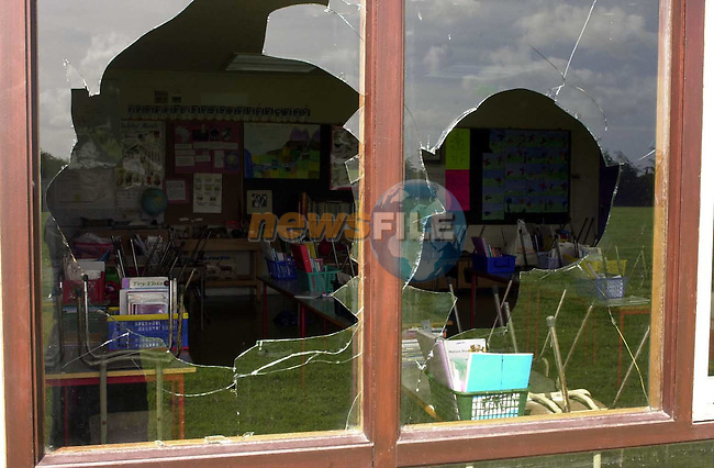 Windows in one of the class rooms in Ballymakenny school that were broken.Picture Fran Caffrey Newsfile