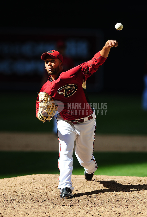 Apr. 3, 2010; Phoenix, AZ, USA; Arizona Diamondbacks pitcher Jordan Norberto against the Chicago Cubs at Chase Field. Mandatory Credit: Mark J. Rebilas-