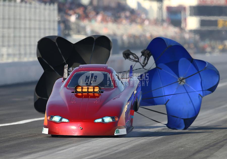 Feb 13, 2016; Pomona, CA, USA; NHRA top alcohol funny car driver Chip Beverett during qualifying for the Winternationals at Auto Club Raceway at Pomona. Mandatory Credit: Mark J. Rebilas-USA TODAY Sports