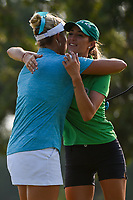 Lexi Thompson (USA) hugs Jaye Marie Green (USA) following round 4 of the 2019 US Women's Open, Charleston Country Club, Charleston, South Carolina,  USA. 6/2/2019.<br /> Picture: Golffile | Ken Murray<br /> <br /> All photo usage must carry mandatory copyright credit (© Golffile | Ken Murray)