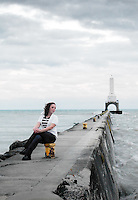 Katie lives just a few blocks from this lighthouse.  We came out on an overcast, windy day.