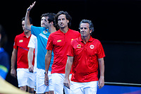 6th January 2020; RAC Arena, Perth, Western Australia; ATP Cup Australia, Perth, Day 4; Spain versus Uruguay; Francisco Roig Captain of Spain leads his team out to the court for the matches against Uruguay - Editorial Use