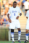 09 September 2011: Duke's Sebastien Ibeagha. The University of Virginia Cavaliers defeated the Duke University Blue Devils 1-0 at Koskinen Stadium in Durham, North Carolina in an NCAA Division I Men's Soccer game.