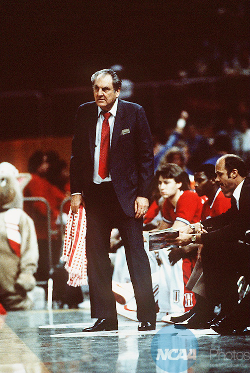 [M1K84CAH.JPG]Caption: Houston coach Guy Lewis watches from the sideline as his Cougars battle it out with the Georgetown Hoyas during the 1984 national championship game. The Hoyas got the best of Lewis' team on this day as the Cougars fell 84-75 in Seattle, Washington. During Lewis' tenure at Houston, he would guide five teams to the Final Four. Rich Clarkson/NCAA Photos. Photographer: Rich ClarksonCity: SeattleState: WashingtonDate: 19840402Object Name: M1K84CAH.JPGCaption Writer: AB