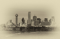 This is a photo of a Dallas skyline  with a vintage look which includes many of the iconic structures like the Margaret Hunt Hill bridge, Bank of America, Fountain Place, to the Reunion Tower in a sepia finish.