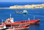 Merchant ships in Grand Harbour, Valletta, Malta