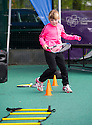 Judy Murray joins kids, coaches and adults to launch Free Tennis Lessons at Zetland Park. Kids engage in Cardio Tennis.