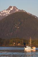 "Commercial trolling vessel ""Nikka"" passes through Sitka Sound, southeast, Alaska."