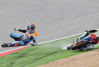 The portuguese Rider Miguel Oliveira have an accident during the free practice 1 at The Grand Prix Motorland Aragon 2012