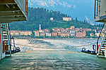 View of Bellagio, a town on Lake Como, Italy from a car ferry