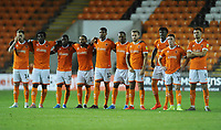 The Blackpool squad looks on nervously during the penalty shootout <br /> <br /> Photographer Kevin Barnes/CameraSport<br /> <br /> The Carabao Cup First Round - Blackpool v Macclesfield Town - Tuesday 13th August 2019 - Bloomfield Road - Blackpool<br />  <br /> World Copyright © 2019 CameraSport. All rights reserved. 43 Linden Ave. Countesthorpe. Leicester. England. LE8 5PG - Tel: +44 (0) 116 277 4147 - admin@camerasport.com - www.camerasport.com