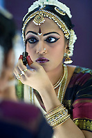Anjali getting her makeup done before Arangetram