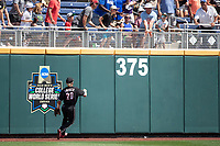 Louisville Cardinals outfielder Jake Snider (2) watches a HR leave the park during Game 3 of the NCAA College World Series against the Vanderbilt Commodores on June 16, 2019 at TD Ameritrade Park in Omaha, Nebraska. Vanderbilt defeated Louisville 3-1. (Andrew Woolley/Four Seam Images)