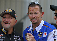 May 11, 2013; Commerce, GA, USA: NHRA funny car driver Jack Beckman (right) with Jeff Arend during the Southern Nationals at Atlanta Dragway. Mandatory Credit: Mark J. Rebilas-