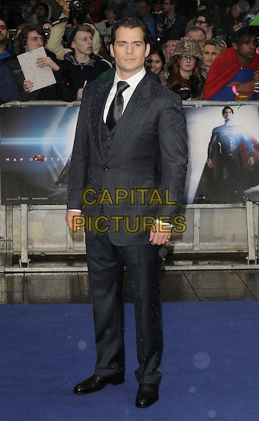 Henry Cavill<br /> 'Man Of Steel' UK film premiere, Empire cinema, Leicester Square, London, England.<br /> 12th June 2013<br /> full length blue grey gray suit white shirt <br /> CAP/CAN<br /> &copy;Can Nguyen/Capital Pictures
