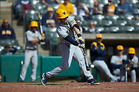 Vince Ippoliti (45) of the West Virginia Mountaineers makes contact with the baseball during the game against the Illinois Fighting Illini at TicketReturn.com Field at Pelicans Ballpark on February 23, 2020 in Myrtle Beach, South Carolina. The Fighting Illini defeated the Mountaineers 2-1.  (Brian Westerholt/Four Seam Images)