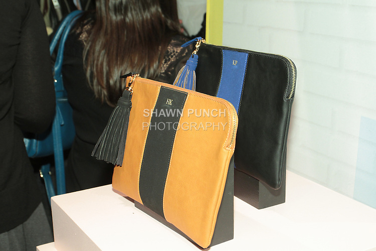Handbags displayed during the Target + Who What Wear launch of the Who What Wear collection by Hillary Kerr and Katherine Power, on January 27, 2016.