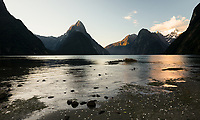 Sunset in Milford Sound with Mitre Peak, Fiordland National Park, Southland, UNESCO World Heritage Area, New Zealand, NZ