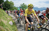 yellow jersey Chris Froome (GBR/SKY) up the first hill immediately after the start; the Collet de Tami&eacute; (8.1km @7%)<br /> <br /> Stage 19:  Albertville &rsaquo; Saint-Gervais /Mont Blanc (146km)<br /> 103rd Tour de France 2016