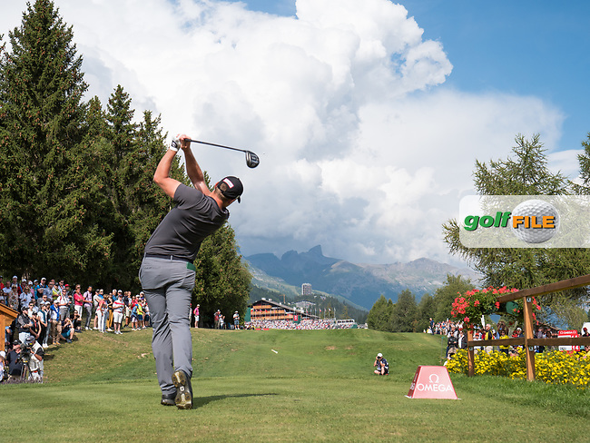 Lorenzo Gagli (ITA) in action on the 18th hole during final round at the Omega European Masters, Golf Club Crans-sur-Sierre, Crans-Montana, Valais, Switzerland. 01/09/19.<br /> Picture Stefano DiMaria / Golffile.ie<br /> <br /> All photo usage must carry mandatory copyright credit (© Golffile | Stefano DiMaria)