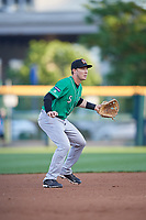 Norfolk Tides third baseman Zach Vincej (5) during an International League game against the Buffalo Bisons on June 22, 2019 at Sahlen Field in Buffalo, New York.  Buffalo defeated Norfolk 3-0.  (Mike Janes/Four Seam Images)