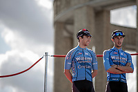 Sean De Bie (BEL/Veranda's Willems Crelan) and Dries De Bondt (BEL/Veranda's Willems Crelan) at the pre race team presentation. <br /> <br /> 1st Great War Remembrance Race 2018 (UCI Europe Tour Cat. 1.1) <br /> Nieuwpoort &gt; Ieper (BE) 192.7 km