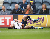 Preston North End's Greg Cunningham receives an injury<br /> <br /> Photographer Mick Walker/CameraSport<br /> <br /> The EFL Sky Bet Championship - Preston North End v Norwich City - Monday 17th April 2017 - Deepdale - Preston<br /> <br /> World Copyright &copy; 2017 CameraSport. All rights reserved. 43 Linden Ave. Countesthorpe. Leicester. England. LE8 5PG - Tel: +44 (0) 116 277 4147 - admin@camerasport.com - www.camerasport.com