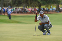 Tiger Woods (USA) lines up his birdie attempt on 18 during round 3 of The Players Championship, TPC Sawgrass, at Ponte Vedra, Florida, USA. 5/12/2018.<br /> Picture: Golffile | Ken Murray<br /> <br /> <br /> All photo usage must carry mandatory copyright credit (&copy; Golffile | Ken Murray)