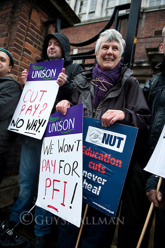 NUT & UNISON strike at Central Foundation Girls School. Tower Hamlets 25-4-12 Teachers and support staff go on strike over cuts and increased workload.