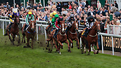 June 10th 2017, Chester Racecourse, Cheshire, England; Chester Races Horse racing; Neil Farley on Lord Franklin lead the horses onto the second circuit of the seventh race of the afternoon