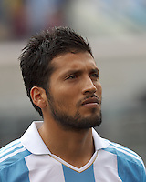 Argentina defender Ezequiel Garay (2). In an international friendly (Clash of Titans), Argentina defeated Brazil, 4-3, at MetLife Stadium on June 9, 2012.