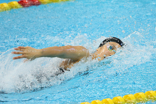 Yasuko Miyamoto (JPN), <br /> SEPTEMBER 21, 2014 - Swimming : <br /> Women's 4x100m Freestyle Relay Heat <br /> at Munhak Park Tae-hwan Aquatics Center <br /> during the 2014 Incheon Asian Games in Incheon, South Korea. <br /> (Photo by YUTAKA/AFLO SPORT) [1040]