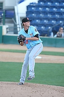 Tyler Carpenter (20) of the Inland Empire 66ers pitches during a game against the Rancho Cucamonga Quakes at LoanMart Field on September 6, 2015 in Rancho Cucamonga, California. Rancho Cucamonga defeated Inland Empire, 10-6. (Larry Goren/Four Seam Images)