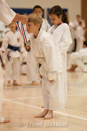 Nathaniel Nelson wins a gold medal in sparring and a bronze medal in kata at the Utah State Karate Tournament.&amp;#xA;; 5.07.2005<br />