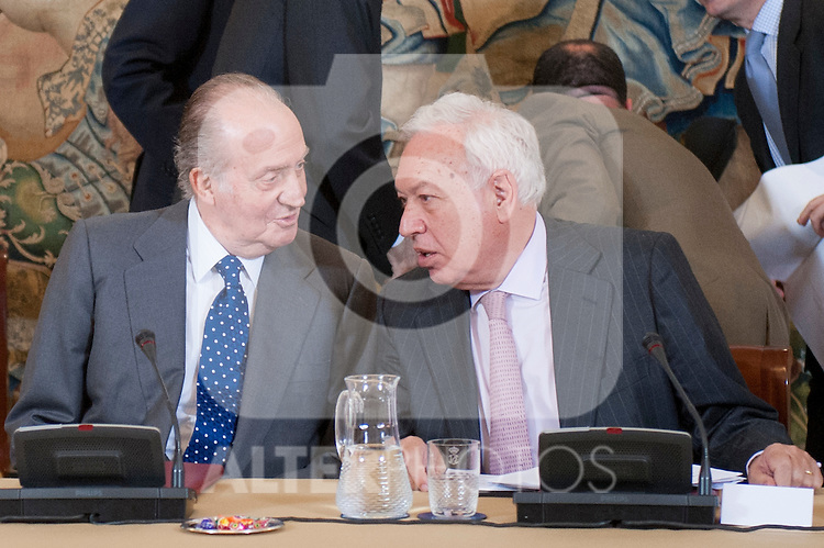King Juan Carlos I of Spain attends the annual meeting of the board of the Carolina Foundation. In the pictues King Juan Carlos I of Spain and the Minister José Manuel Garcia Margallo (Foreign). July 10,2012.(ALTERPHOTOS/Ricky)