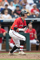 Texas Tech Red Raiders designated hitter Cody Masters (7) follows through on his swing during Game 5 of the NCAA College World Series against the Arkansas Razorbacks on June 17, 2019 at TD Ameritrade Park in Omaha, Nebraska. Texas Tech defeated Arkansas 5-4. (Andrew Woolley/Four Seam Images)