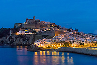 Ibiza Town and the cathedral of Santa Maria d'Eivissa at night, Ibiza, Balearic Islands, Spain.