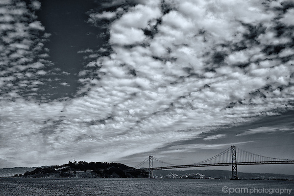 Sweeping clouds above the Bay Bridge in San Francisco
