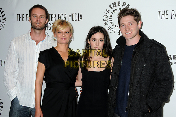 "CAST - Garret Dillahunt, Martha Plimpton, Shannon Woodward and Lucas Neff. 28th Annual Paley Center for Media's Paley Fest 2011 Presents ""Raising Hope"" held at The Saban Theatre, Beverly Hills, California, USA..March 17th, 2011.half length white shirt black dress jacket stubble facial hair.CAP/ADM/BP.©Byron Purvis/AdMedia/Capital Pictures."