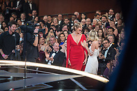 Margot Robbie congratulates Allison Janney on winning the Oscar&reg; for performance by an actress in a supporting role for work on &ldquo;I, Tonya&rdquo; during the live ABC Telecast of The 90th Oscars&reg; at the Dolby&reg; Theatre in Hollywood, CA on Sunday, March 4, 2018.<br /> *Editorial Use Only*<br /> CAP/PLF/AMPAS<br /> Supplied by Capital Pictures