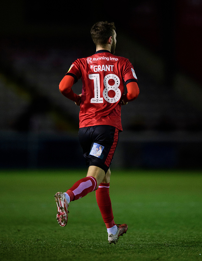 Lincoln City's Jorge Grant with That Peter Crouch Podcast logo on his shorts<br /> <br /> Photographer Chris Vaughan/CameraSport<br /> <br /> The EFL Sky Bet League One - Lincoln City v Milton Keynes Dons - Tuesday 11th February 2020 - LNER Stadium - Lincoln<br /> <br /> World Copyright © 2020 CameraSport. All rights reserved. 43 Linden Ave. Countesthorpe. Leicester. England. LE8 5PG - Tel: +44 (0) 116 277 4147 - admin@camerasport.com - www.camerasport.com