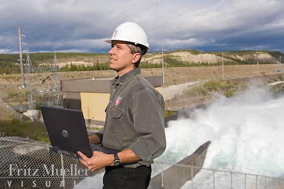Yukon Energy Corporation engineer at the Whitehorse Dam on the Yukon River